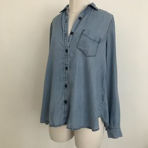 Who What Wear Cambray Long Sleeve Button Up